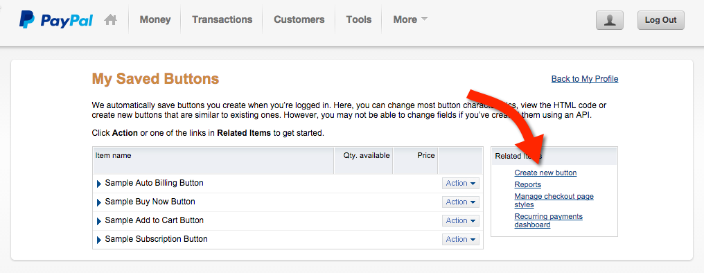 Paypal Hosted Buttons - Create Button