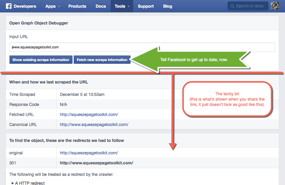 Facebook Debugger Step 2